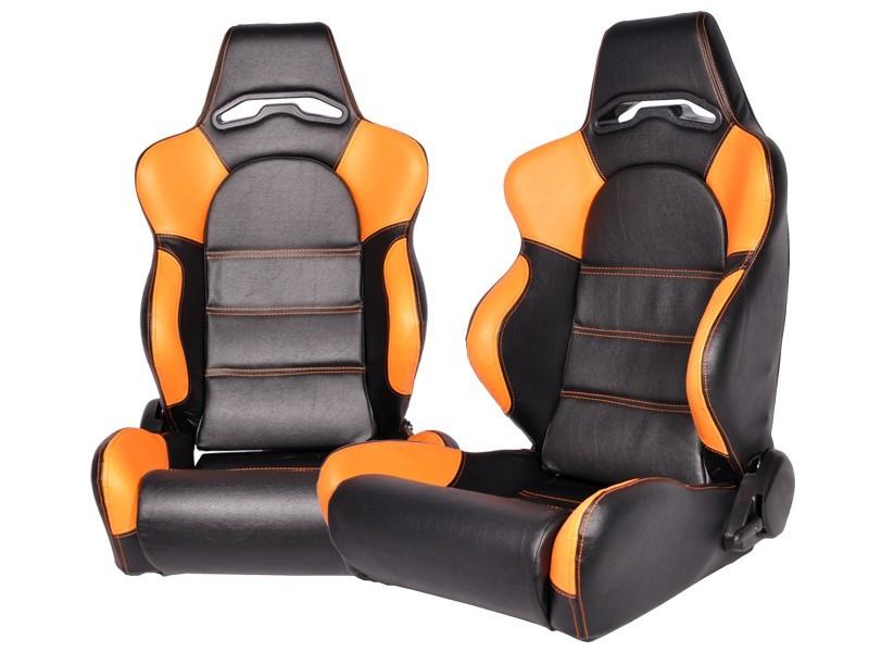 1 paar sportsitze leder schwarz orange golf 3 polo 6n. Black Bedroom Furniture Sets. Home Design Ideas