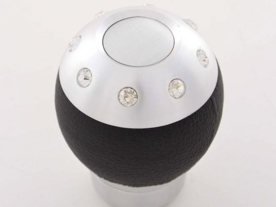 Schaltknauf in Aluminium mit 8 Kristallen und schwarze Leder-Absetzung